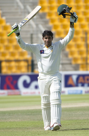 Misbah-ul-Haq raises his arms after reaching a century, Pakistan v South Africa, 1st Test, 3rd day, Abu Dhabi, October 16, 2013