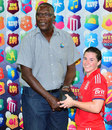 Joel Garner presents the Player of the Match award to Tammy Beaumont, England Women v New Zealand Women, West Indies Tri-Nation Twenty20, Barbados, October 16, 2013