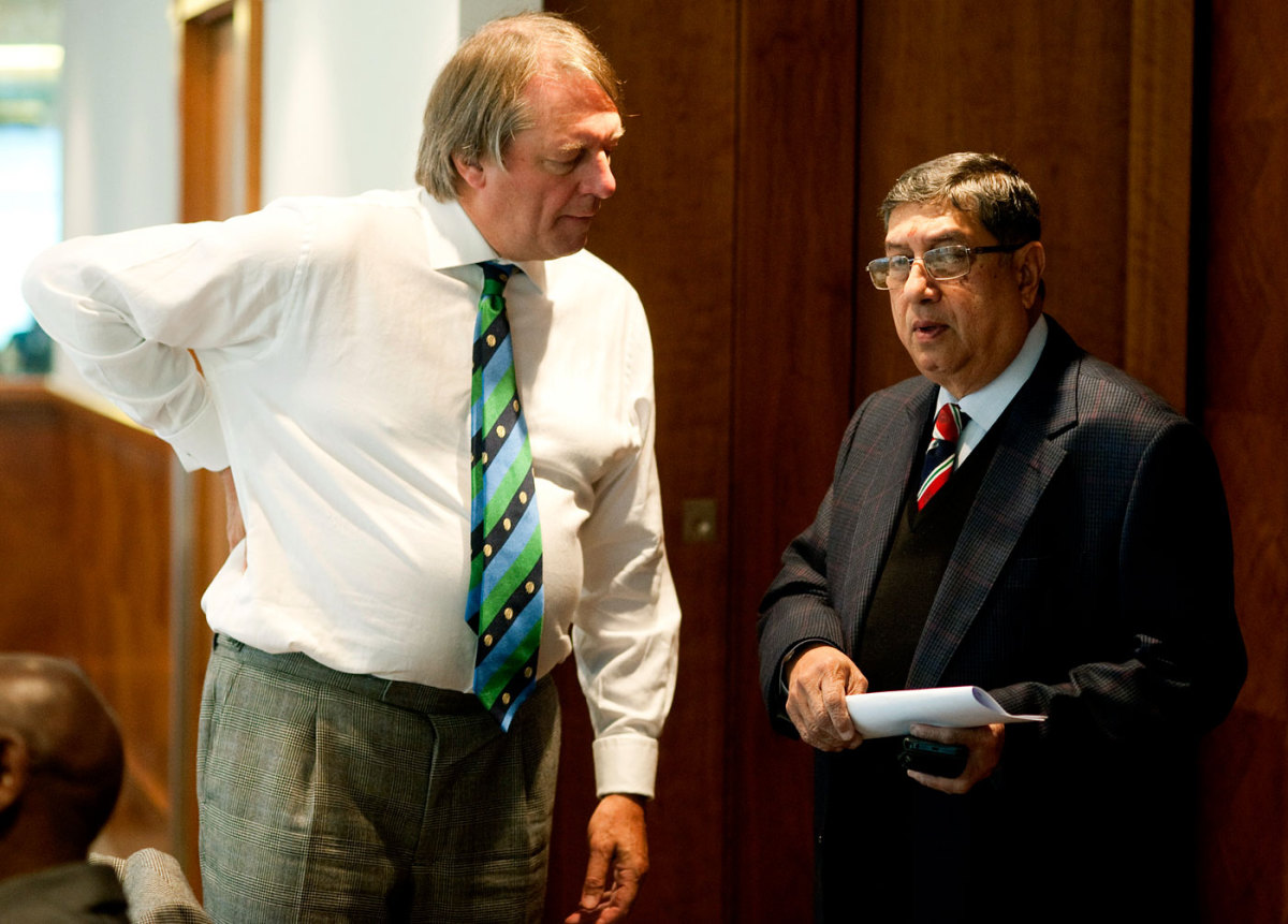 Giles Clarke and N Srinivasan at the ICC's executive board meeting
