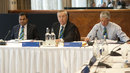 AHM Mustafa Kamal, Alan Isaac and David Richardson at the ICC executive board meeting, London, Friday, October 18, 2013