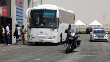 The Pakistan team bus arrives at the Dubai Cricket Stadium
