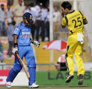 Mitchell Johnson nipped off Suresh Raina with a short one, India v Australia, 3rd ODI, Mohali, October 19, 2013