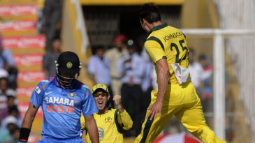 Mitchell Johnson is elated at dismissing Yuvraj Singh