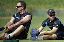 Kane Williamson and Mark Gillespie stretch during training, Dhaka, October 19, 2013