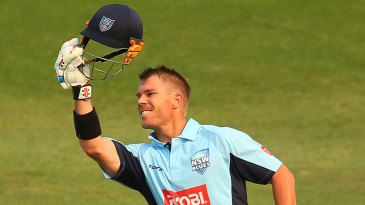 David Warner celebrates his second successive limited-overs hundred