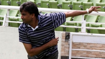Javagal Srinath bowls to Tamim Iqbal in the nets