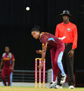Stacy-Ann King in her delivery stride, West Indies Women v New Zealand Women, Tri-Nation Twenty20 Women's Series, Barbados, October 21, 2013