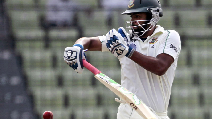 Tamim Iqbal tackles a rising delivery
