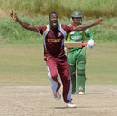 Jerome Jones celebrates his hat-trick, West Indies Under-19s v Bangladesh Under-19s, 7th Youth ODI, Guyana, October 21, 2013