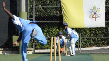 The players of the Vatican Cricket Club practice in the nets