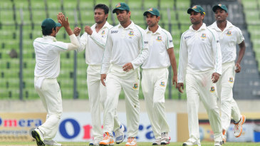 Bangladesh celebrate the dismissal of Ross Taylor