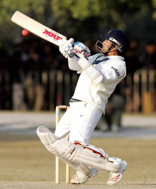 Sachin Tendulkar tries to dab one over slips, Pakistan A v Indians, 1st day, January 7, 2006