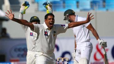 Zulfiqar Babar successfully appeals for the wicket of Alviro Petersen