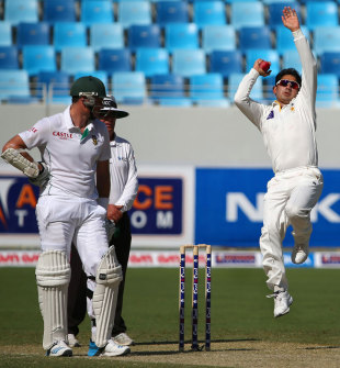 Saeed Ajmal in his delivery stride, Pakistan v South Africa, 2nd Test, 1st day, Dubai, October 23, 2013