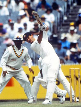 Ricky Ponting lofts one during his innings of 96, Australia v Sri Lanka, 1st Test, Perth, 3rd day, December 10, 1995