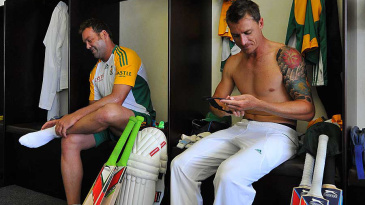 Dale Steyn and Jacques Kallis share a light moment in the dressing room