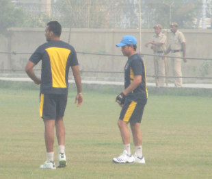Zaheer Khan and Sachin Tendulkar train ahead of their opening match in the Ranji Trophy, Lahli, October 26, 2013