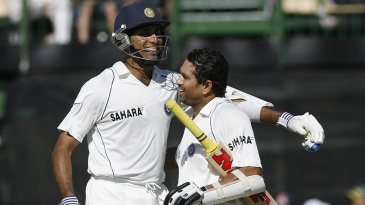 VVS Laxman congratulates Sachin Tendulkar on his hundred
