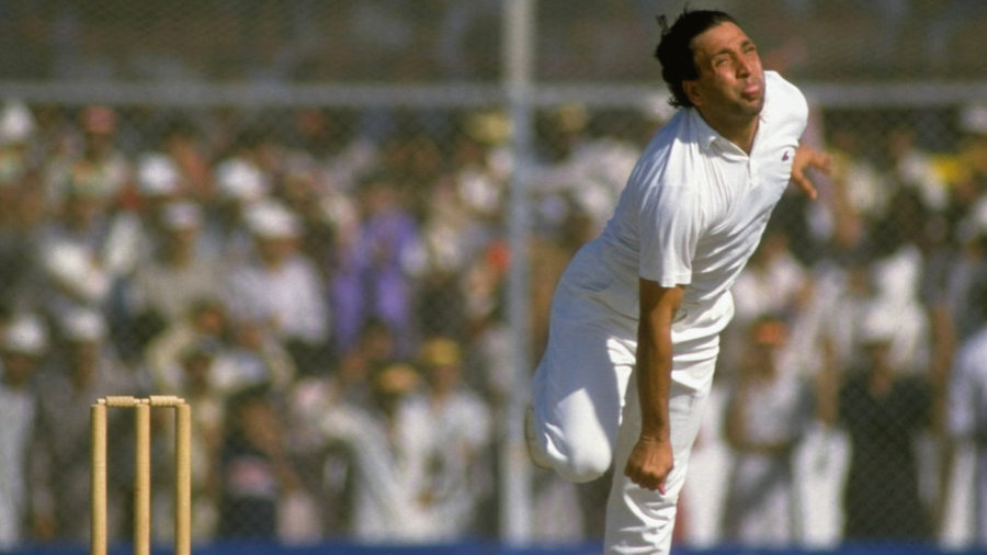 Abdul Qadir bowls during the World Cup Match against West Indies