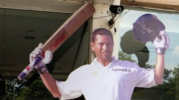 A Sachin Tendulkar cut-out is placed at the Eden Gardens entrance