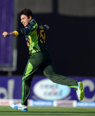 Saeed Ajmal takes off after claiming a wicket, Pakistan v South Africa, 1st ODI, Sharjah, October 30, 2013