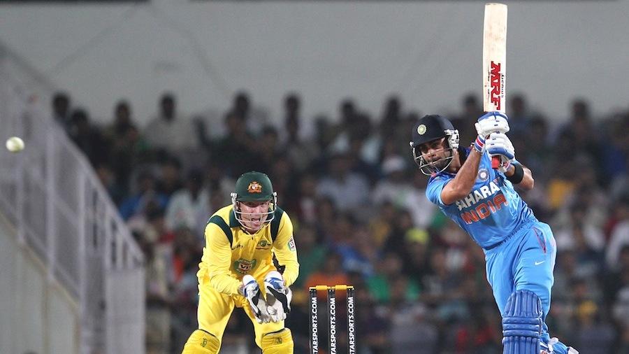 Virat Kohli drives inside out