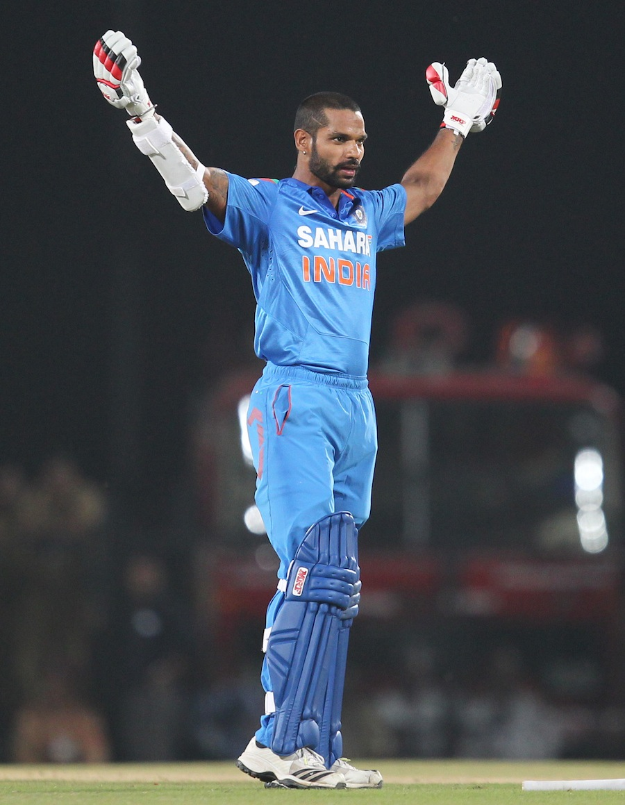 Shikhar Dhawan celebrates his fourth ODI hundred | Photo | India v Australia | ESPNcricinfo.com