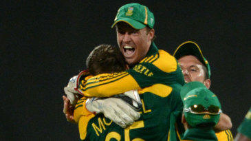 AB de Villiers is ecstatic after South Africa's close win