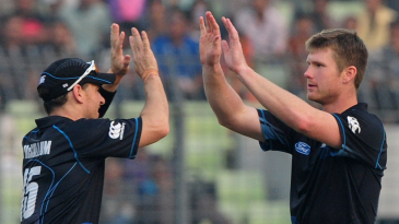 James Neesham celebrates the wicket of Mushfiqur Rahim