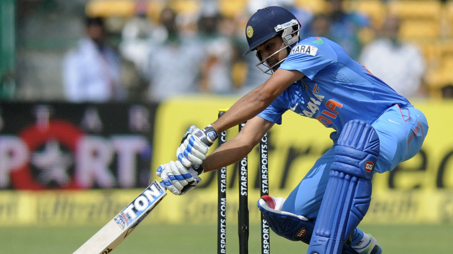 Rohit Sharma attacks the off side