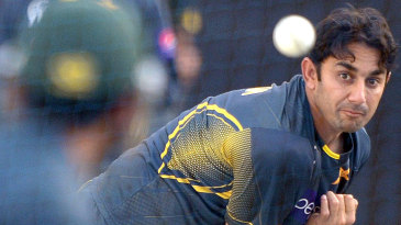 Saeed Ajmal bowls at the nets