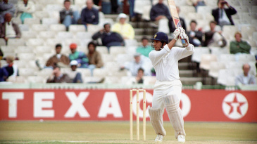 Sachin Tendulkar cuts on his way to his maiden Test century