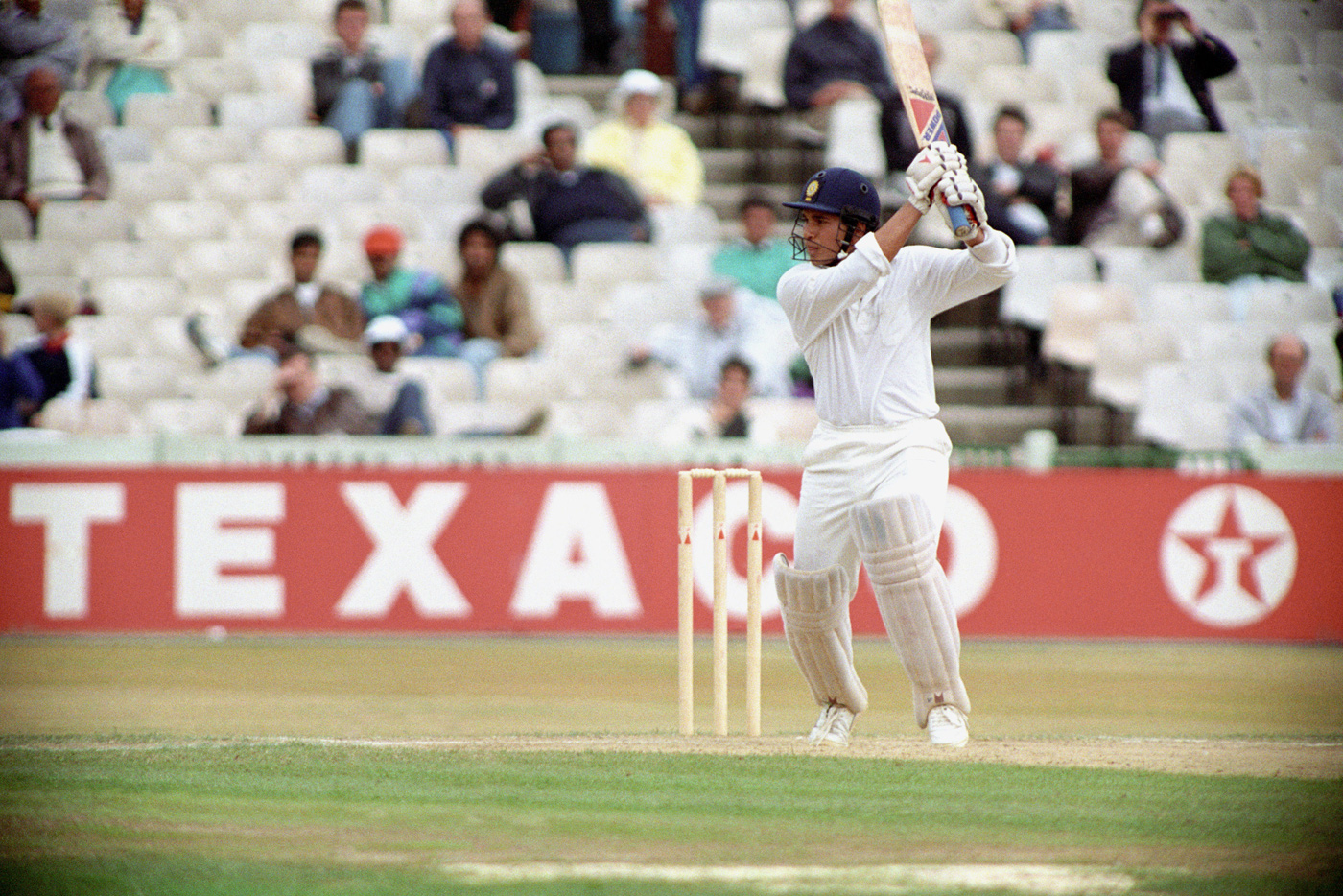 Sachin Tendulkar cuts on his way to his maiden Test century, England v India, 2nd Test, Old Trafford, 5th day, August 14, 1990
