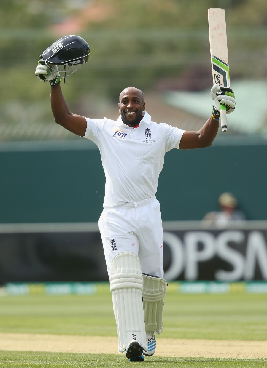 Michael Carberry celebrates his hundred
