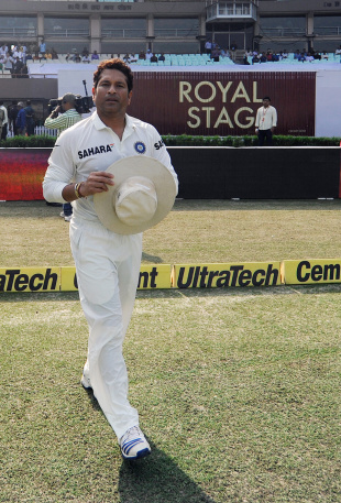 Sachin Tendulkar walks out for his 199th Test, India v West Indies, 1st Test, Kolkata, 1st day, November 6, 2013
