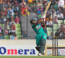 Naeem Islam plays a lofted shot down the ground, Bangladesh v New Zealand, only T20I, Mirpur, November 6, 2013
