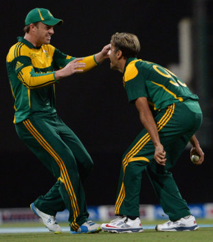 Imran Tahir and AB de Villiers are elated after Umar Akmal's dismissal, Pakistan v South Africa, 3rd ODI, Abu Dhabi, November 6, 2013