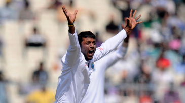 Veerasammy Permaul appeals successfully for Rohit Sharma's wicket