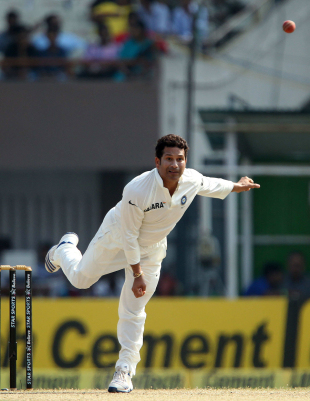 Sachin Tendulkar has a bowl, India v West Indies, 1st Test, Kolkata, 3rd day, November 8, 2013