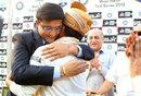 Sourav Ganguly and Sachin Tendulkar embrace after India's win, India v West Indies, 1st Test, Kolkata, 3rd day, November 8, 2013
