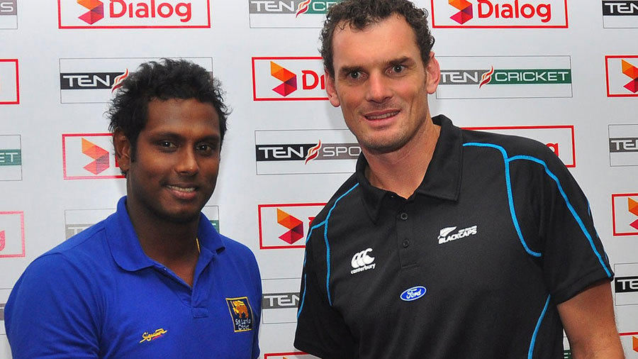 Angelo Mathews and Kyle Mills pose ahead of the one-day series