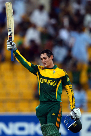Quinton de Kock made his maiden international hundred to take South Africa to a competitive total