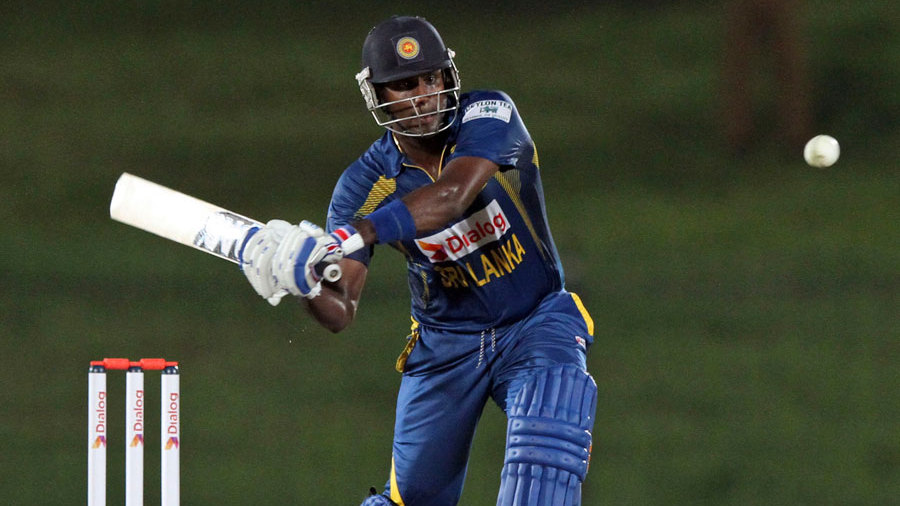Angelo Mathews about to swipe the ball into the leg side en route to his fifty
