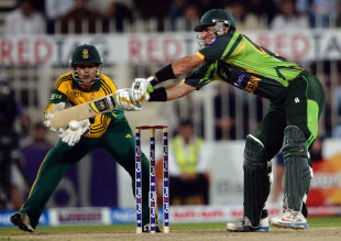 Misbah-ul-Haq attempts to cut the ball, Pakistan v South Africa, 5th ODI, Sharjah, November 11, 2013