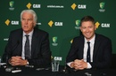 Michael Clarke and John Inverarity at the Ashes squad announcement at the National Cricket Centre, Brisbane, November 12, 2013