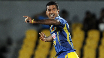 Nuwan Kulasekera jumps for joy after a wicket
