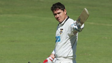 Marcus North celebrates his second hundred of the season