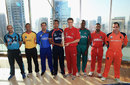 The various captains pose with World Twenty20 Qualifiers trophy, Dubai, November 14, 2013