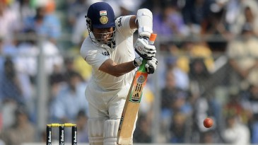Sachin Tendulkar plays the ball on the leg side