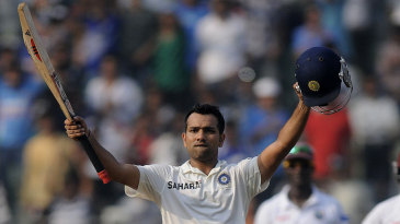 Rohit Sharma celebrates his second consecutive Test century